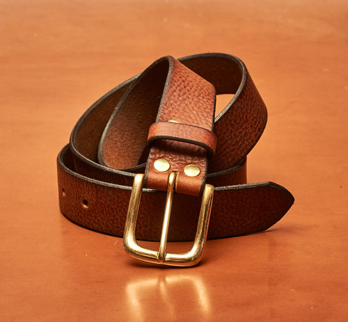 Light Tan Leather Belt - 32mm (1 1/4