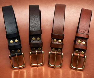 "Dark Brown Leather Belt - 32mm (1 1/4"" inches) wide"