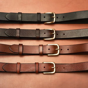 "Black Leather Belt - 32mm (1 1/4"" Inches) wide"