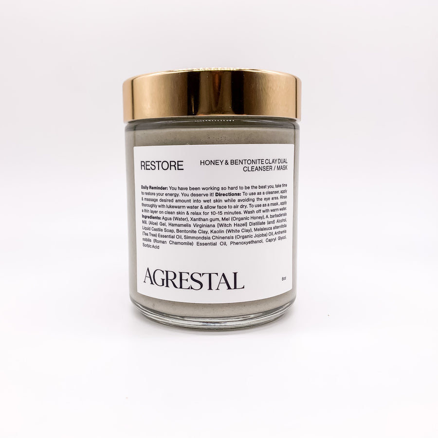 RESTORE. Honey & Bentonite Clay Dual Cleanser-Mask