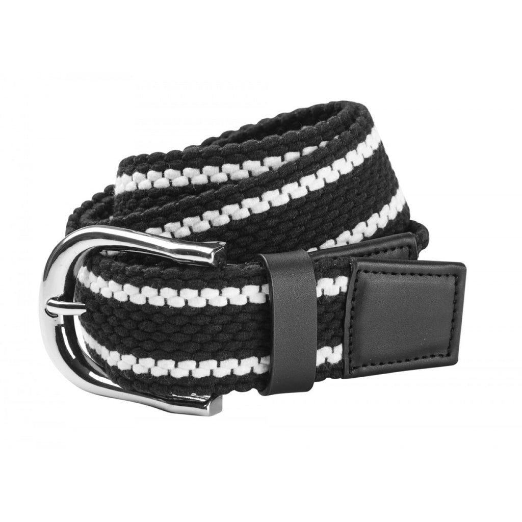 Dublin Stripe Webbing Belt Adults - Black & White