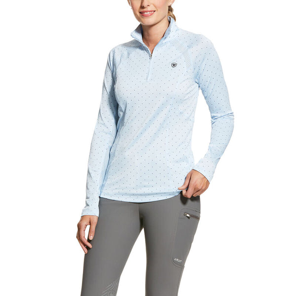 Ariat Women's Sunstopper 2.0 1/4 Zip Baselayer - Blue Cashmere Dot
