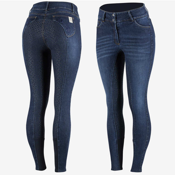 Kaia Women's High Waist Denim Silicone Full Seat Breeches