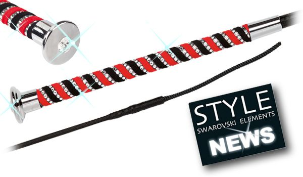 Fleck Premium Grip Swarovski Dressage Whip - Red 110cm