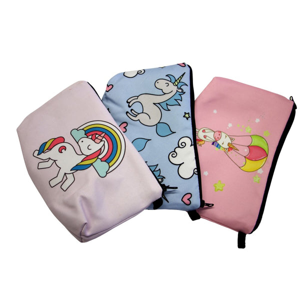 Unicorn Pencil Case - 3 Pack Assorted Designs