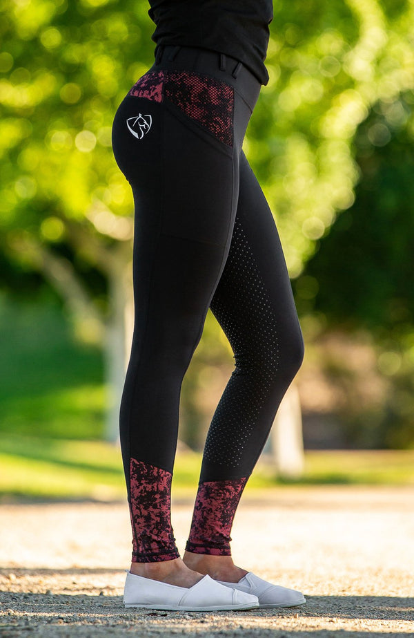 BARE Youth Performance Riding Tights - Garnet