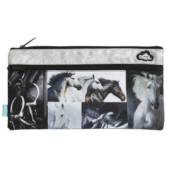 2 Zip Rectangle Pencil Case- Black & White Horses