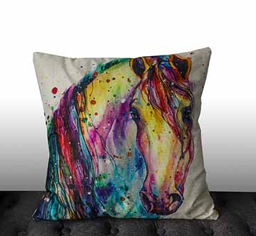 Water Painting Horse Cushion