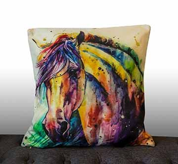 Water Painting #2 Horse Cushion