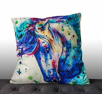 Water Colour Horse Print Cushion