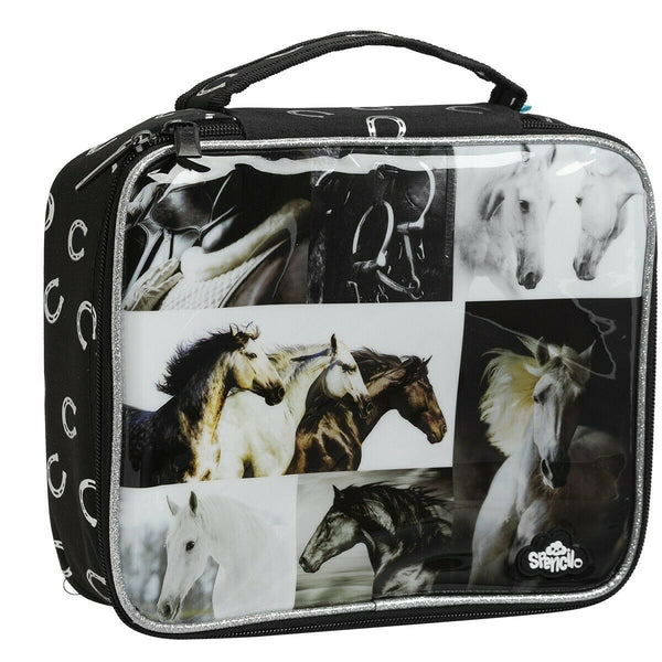 Spencil Black & White Horses Lunch Box