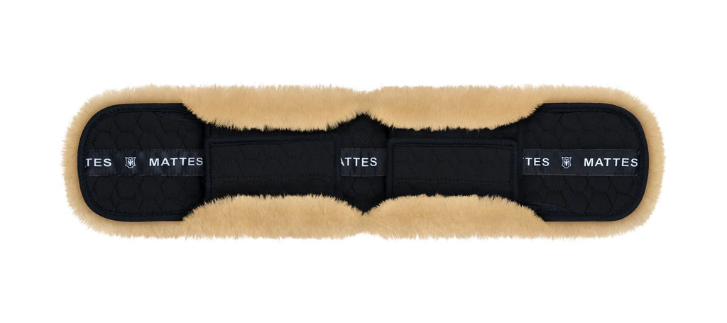Mattes Lambskin-Dressage Girth Strap Cover with buckle flaps