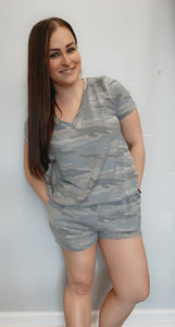 Camo blue heather and grey shorts lounge set