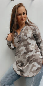 Camo v neck faux tie shirt