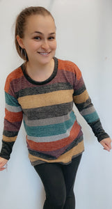 Multi color striped color block sweater