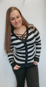 Button down black and grey striped cardigan