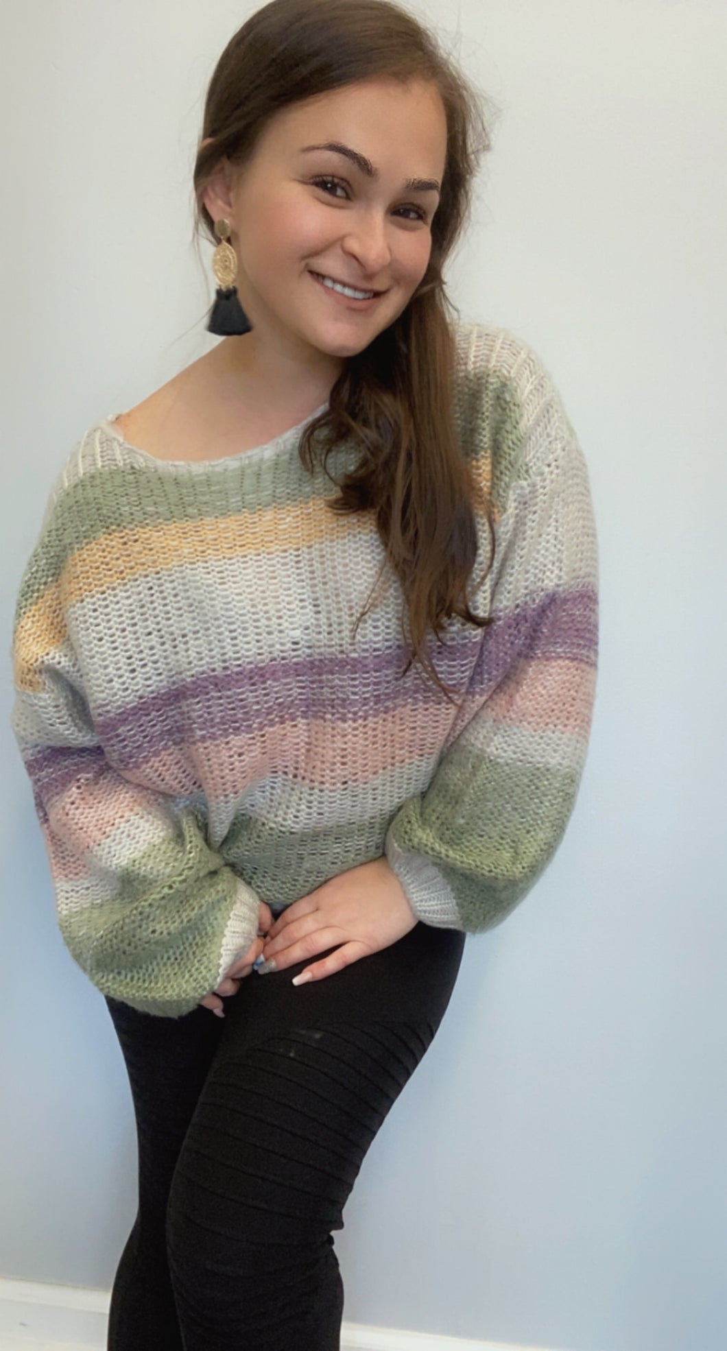 Knit striped pink purple green sweater