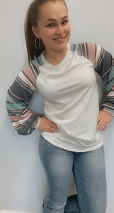 Knit and striped multicolor long sleeved shirt