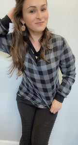 Grey plaid cross sweatshirt
