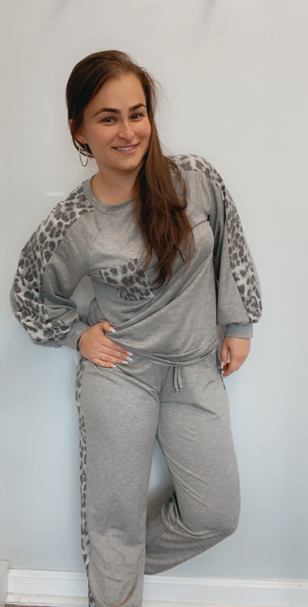 Animal print accented lounge set