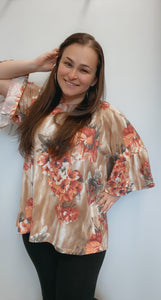 Floral print french terry ruffle sleeve tunic