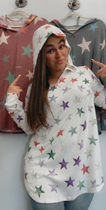 Colored star hoodie-plus size only