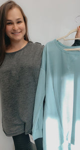Solid  knit round neck long sleeve raw seams