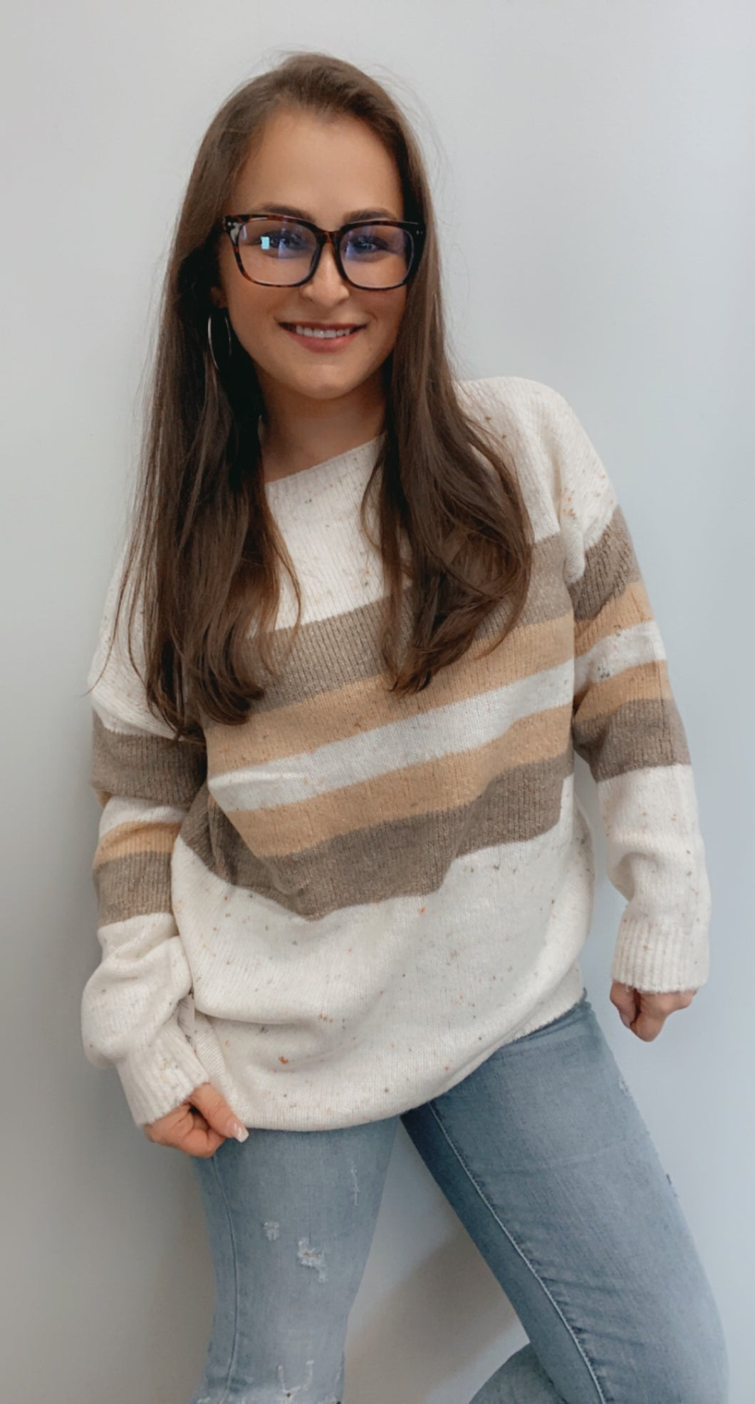Ivory taupe striped sweater