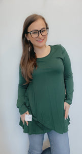 Hunter green solid front overlapping tunic