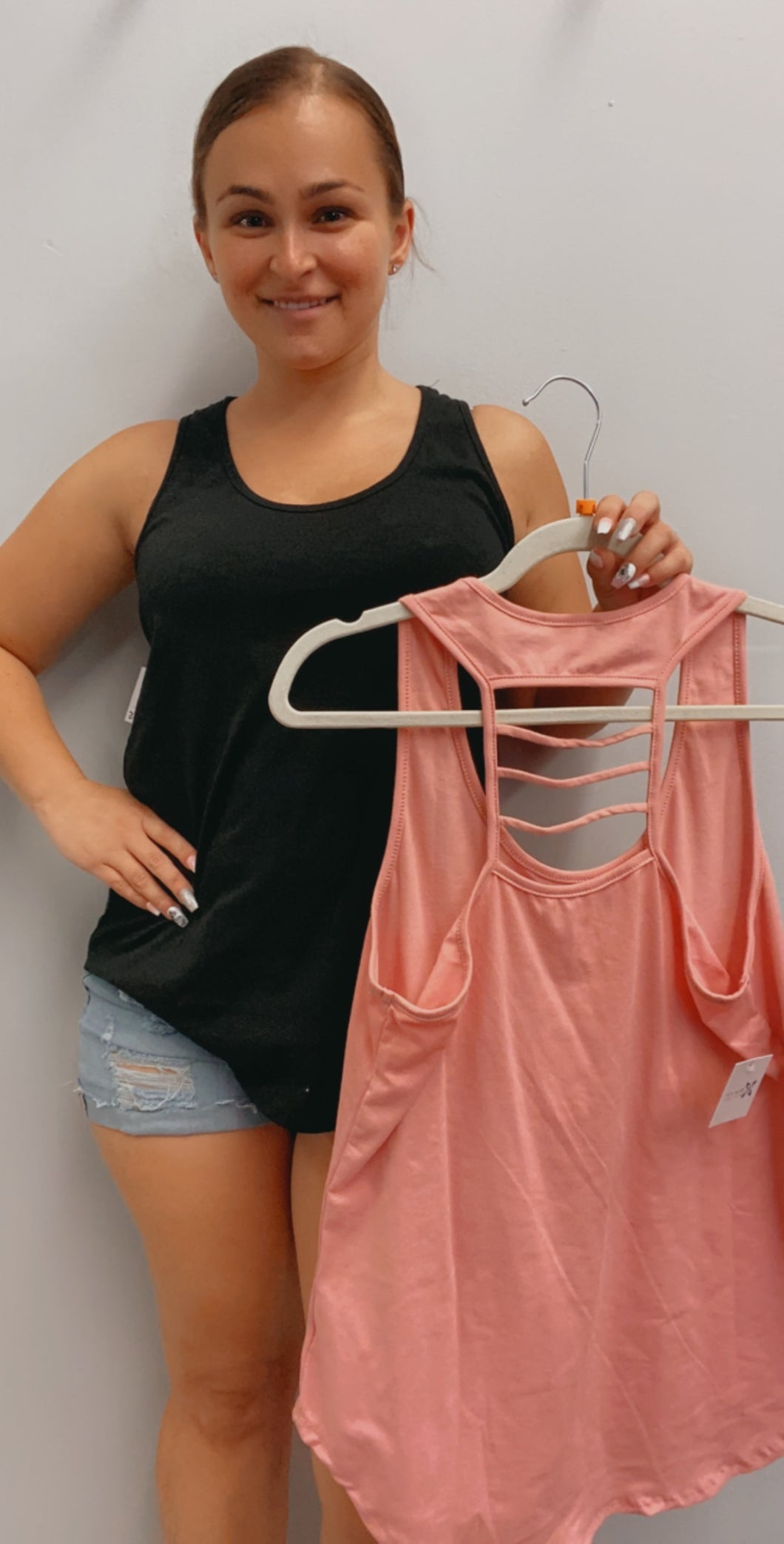Scoop neck tank with cut out detail
