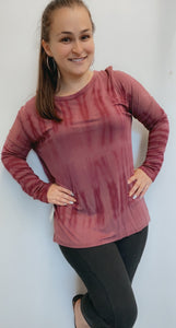 Burgundy tie dye long sleeve shirt