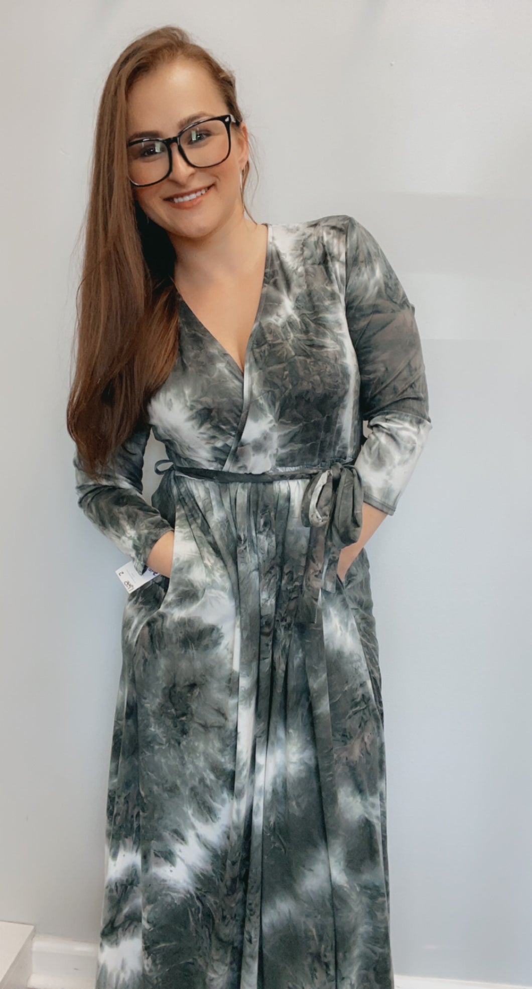 Tie dye belted wrap maxi dress