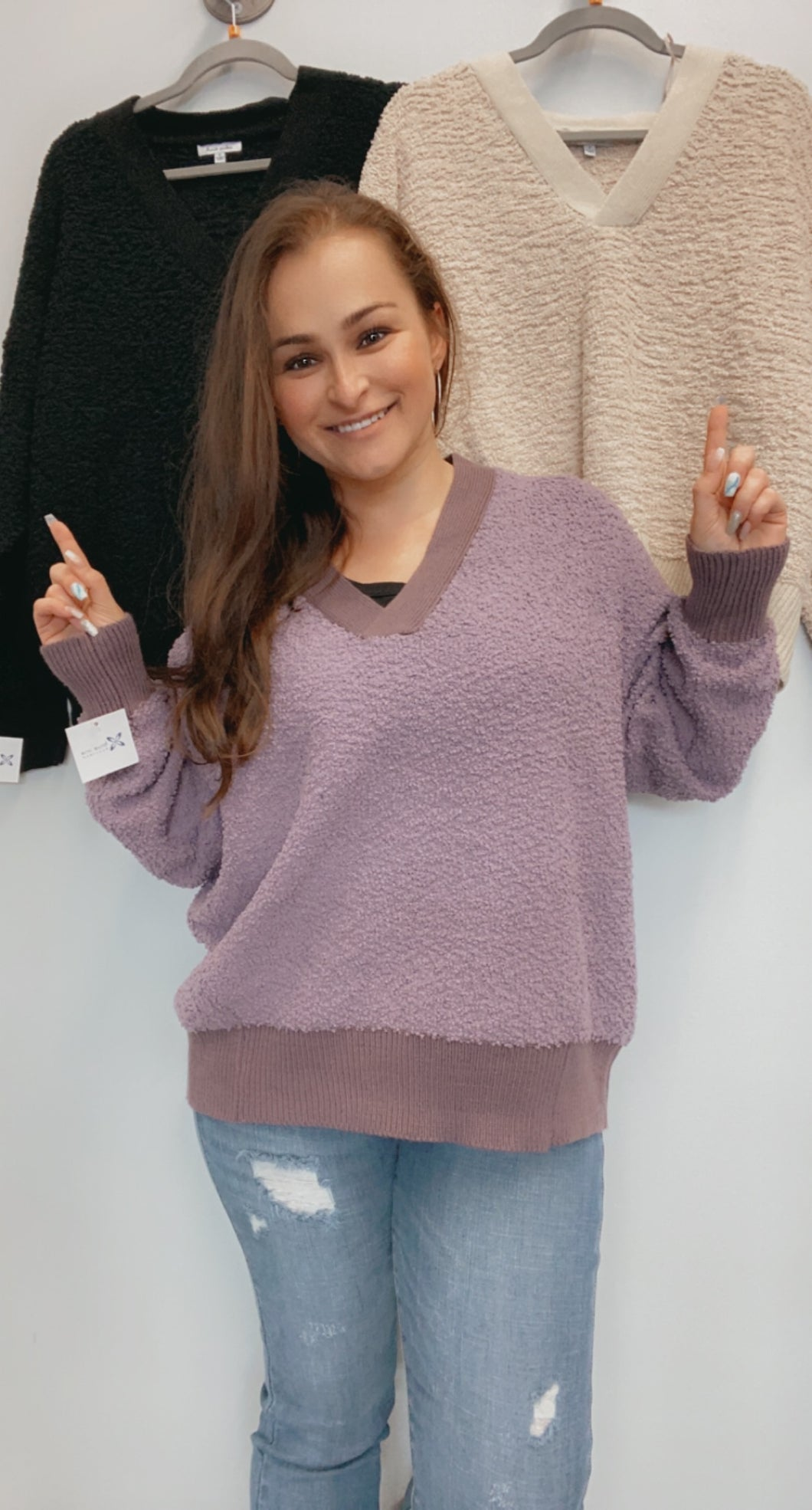 V neck soft touched sweater top