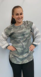 Camo and striped long sleeve shirt