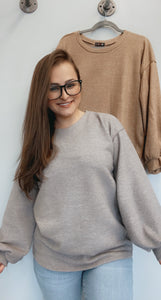 Bubble sleeve cashmere sweater with stitch details