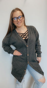 Button down solid long sleeve cardigan