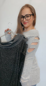 Two tone hacci cut out sleeve off the shoulder sweater