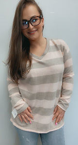 Mocha pink striped v neck long sleeve