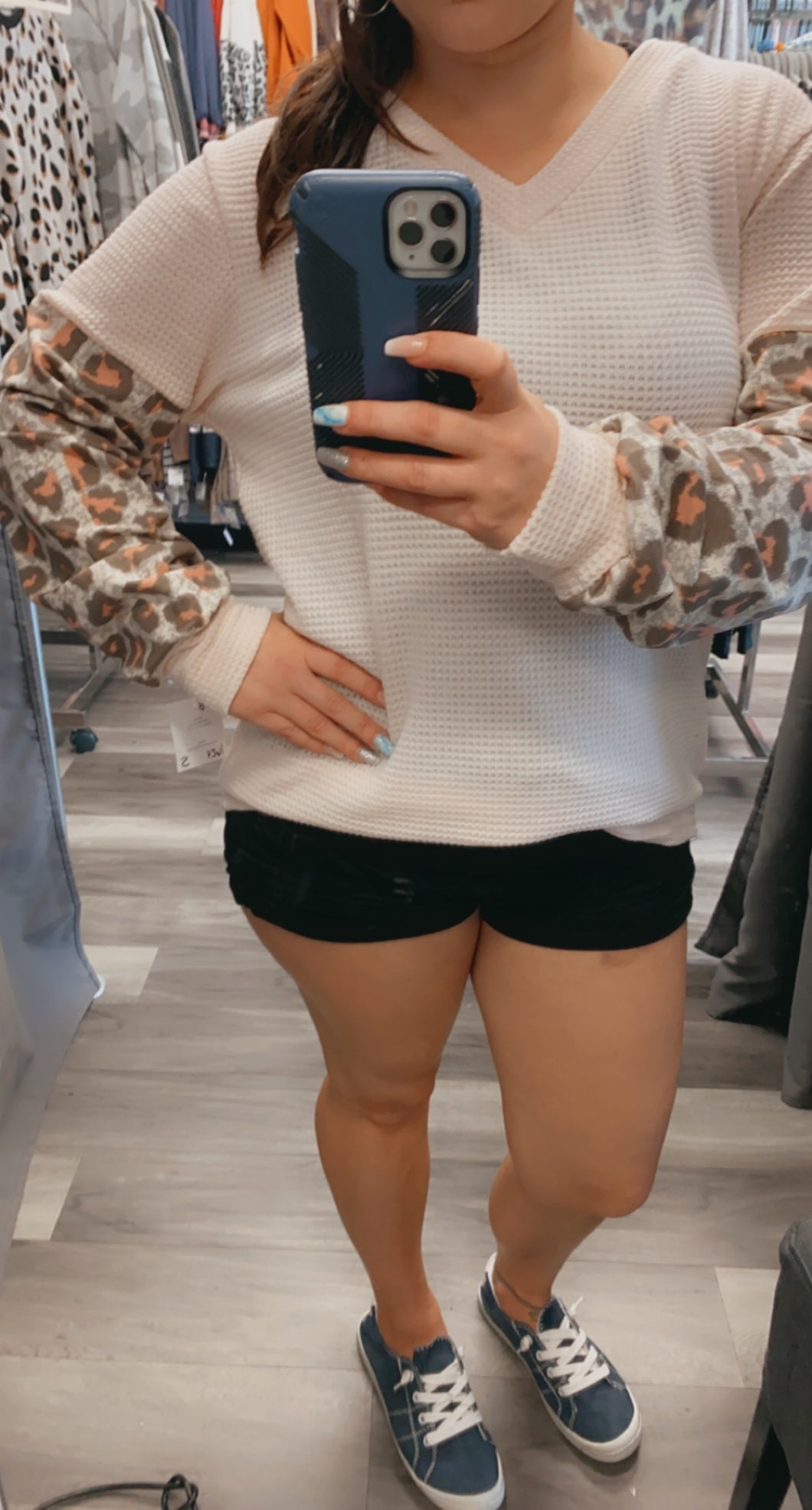 Leopard waffle knit cream and pink long sleeve