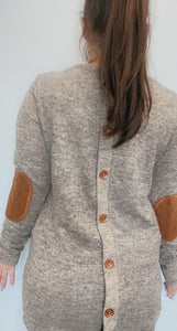 Round neck tunic with quilted suede patches
