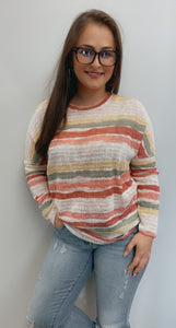 Yellow sage coral thin knit sweater