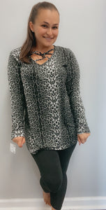 Animal print caged top long sleeve shirt