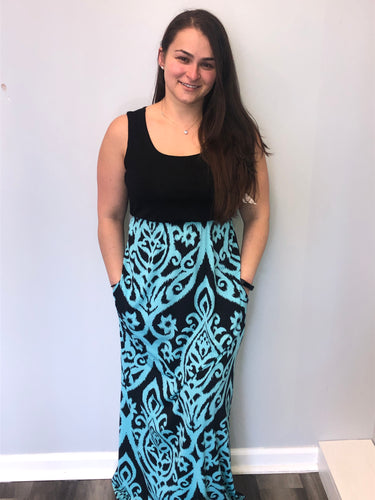Sleeveless damask maxi dress