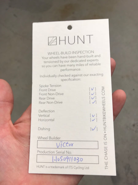 Hunt wheels personalized quality control card