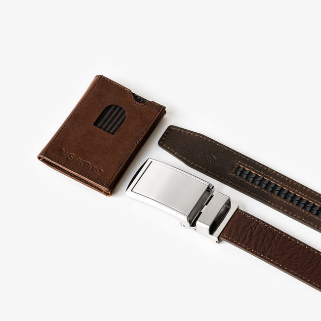 Brown Top Grain Leather Belt and Wallet Set