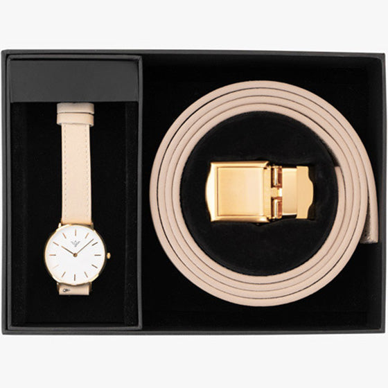 Champagne Watch and Belt Set