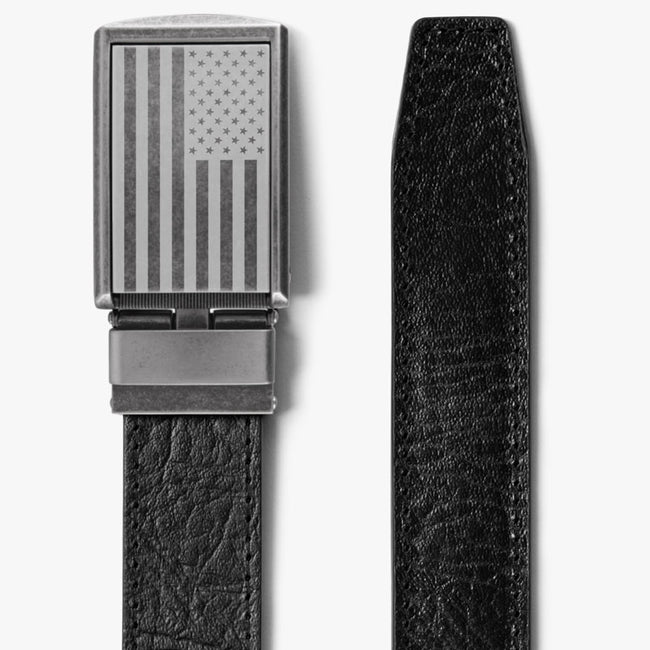 Top Grain Leather Belt with Flag Buckle