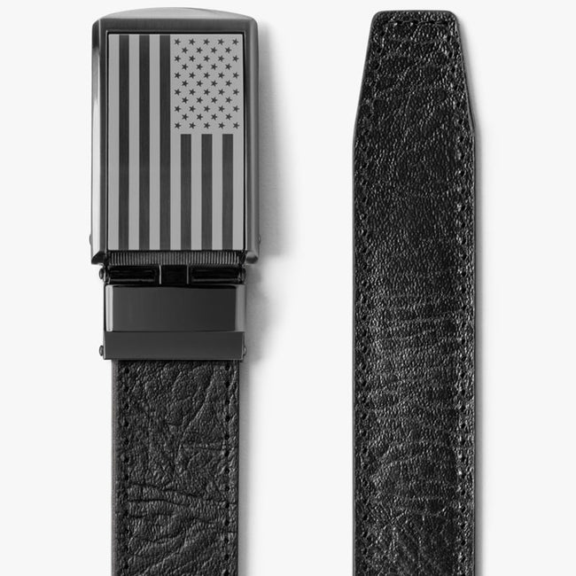 Top Grain Leather American Flag Belt