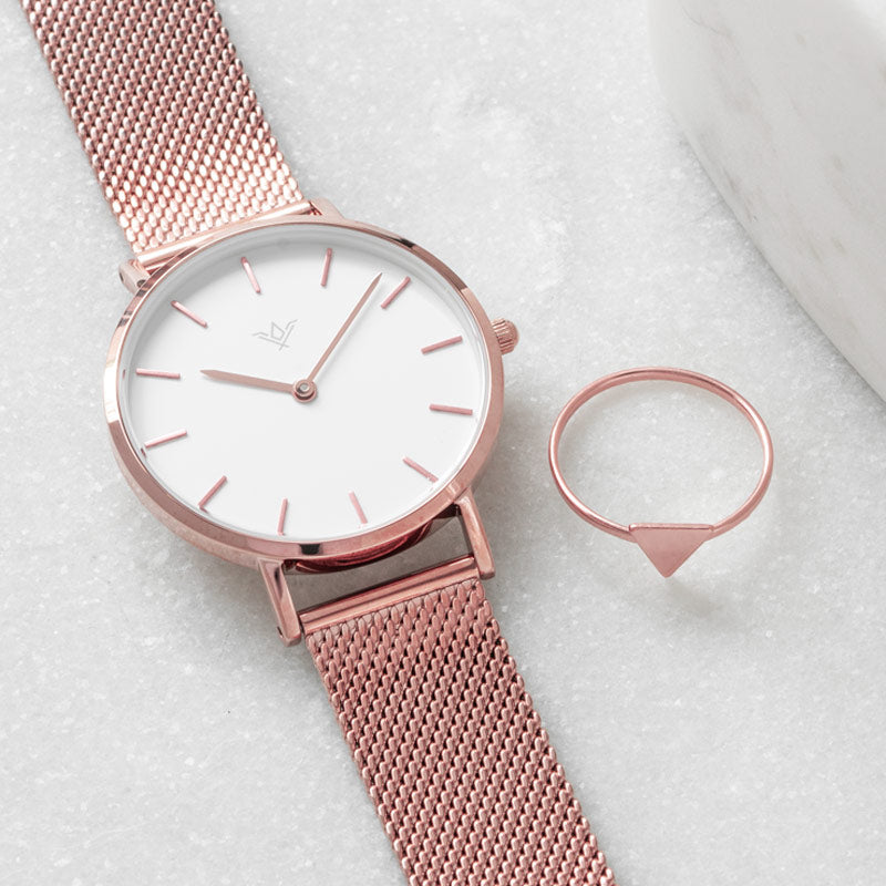 Rosé Watch and Ring Set