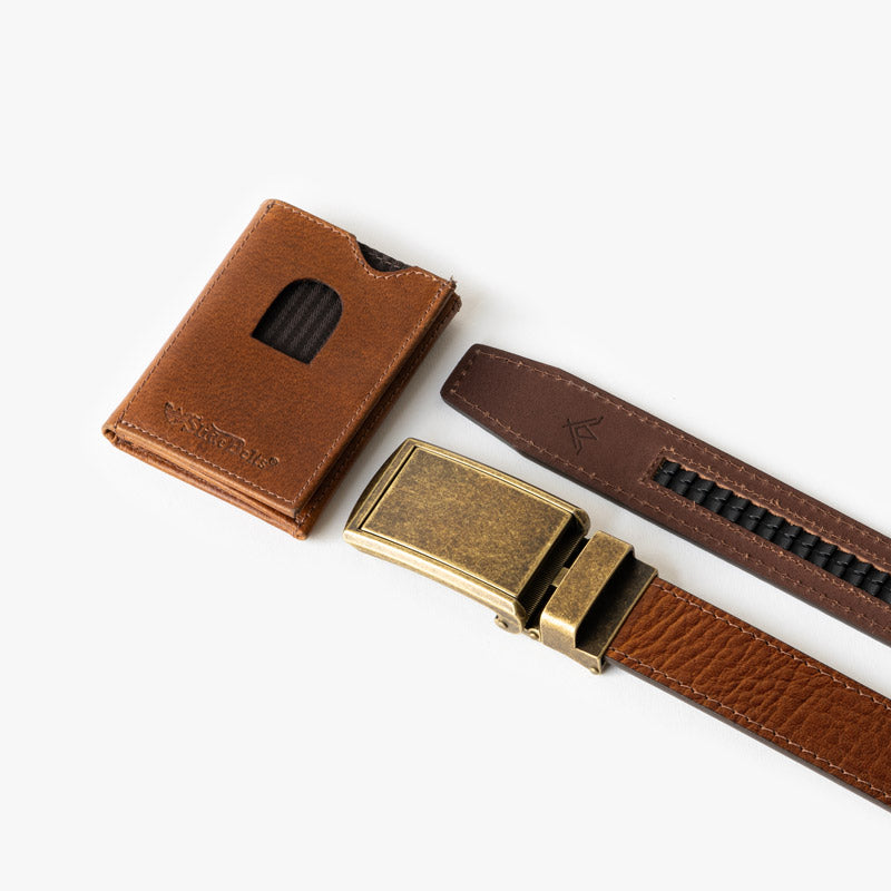 Walnut Top Grain Leather Belt and Wallet Set